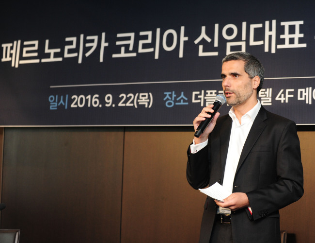 Jean Touboul, CEO of Pernod Ricard, speaks at a press conference in Seoul on Sept. 22. Pernod Ricard Korea