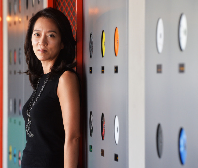 Mary Spackman, founder and principal designer of Spackman Associates, poses inside Vinyl & Plastic located in Yongsan-gu, Seoul. (Yoon Byung-chan/The Korea Herald)
