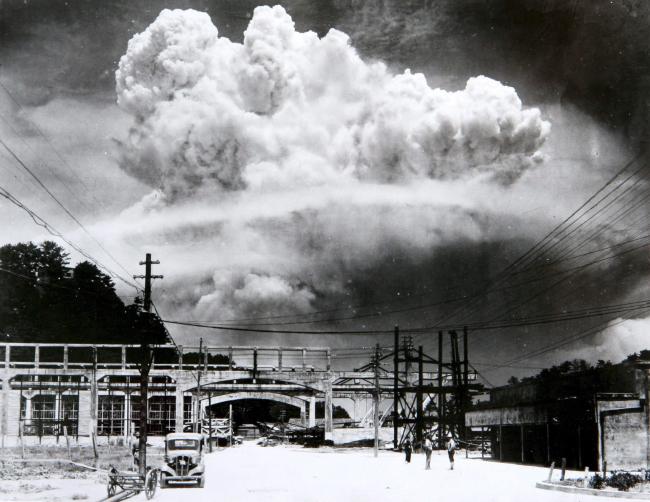 A picture taken by Hiromichi Matsuda of the atomic bomb's mushroom cloud over Nagasaki on Aug. 9, 1945 (Nagasaki Atomic Bomb Museum)