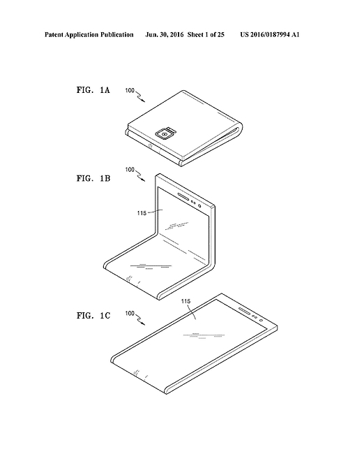 A blueprint of Samsung's foldable smartphones submitted to the USPTO.
