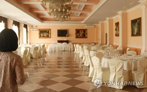 This photo, taken on Oct. 2, 2016, shows the interior of the North Korean Embassy building in Sofia, Bulgaria, which has been lent to a business entity specializing in weddings. (Yonhap)