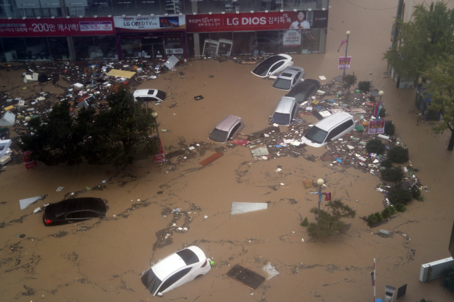 Damages caused by the Typhoon Chaba (Yonhap)