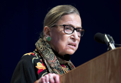 In this Jan. 28 file photo, Supreme Court Justice Ruth Bader Ginsburg speaks at Brandeis University in Waltham, Massachusetts. Ginsburg is riding the wave of her cultural stardom, releasing a compilation of her writings that range from a high school editorial to summaries of some of her spiciest dissenting opinions. (AP-Yonhap)