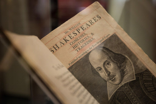 A surviving copy of Shakespeare's First Folio sits in a display glass case at Sotheby's in Hong Kong, China, Monday. (EPA-Yonhap)