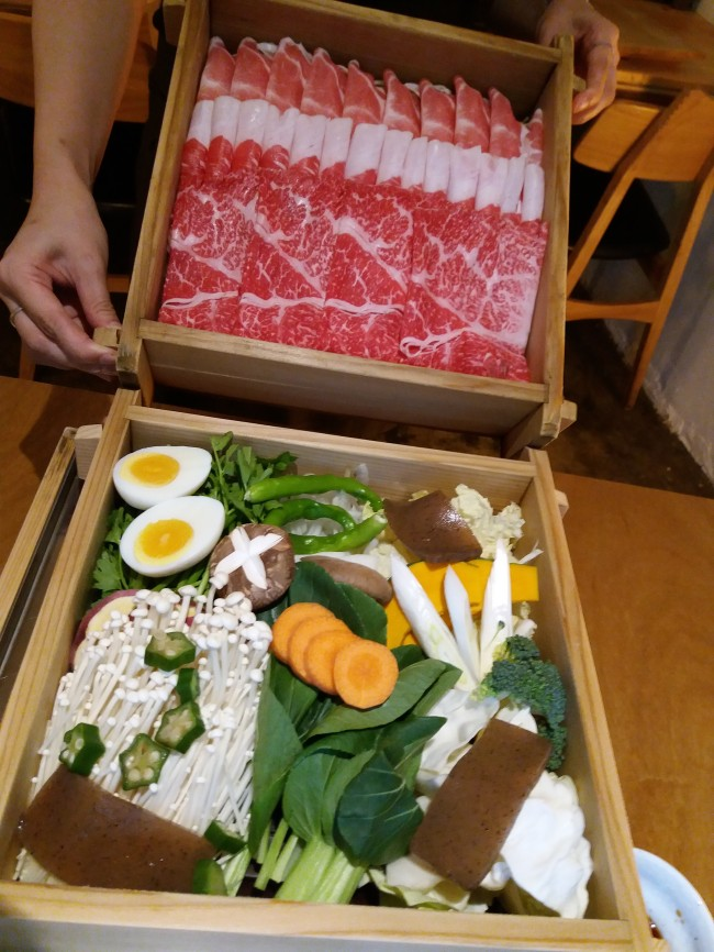 Seiro-mushi-style assorted meats and organic vegetables at Umm Restaurant prepared for the steamer (Christine Cho)