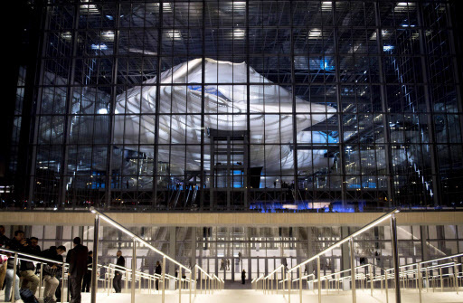 "An interior view of Italian architect Massimiliano Fuksas' new Rome Congress Center, known as ""The Cloud,"" in Rome, Italy, Saturday. (EPA-Yonhap)"