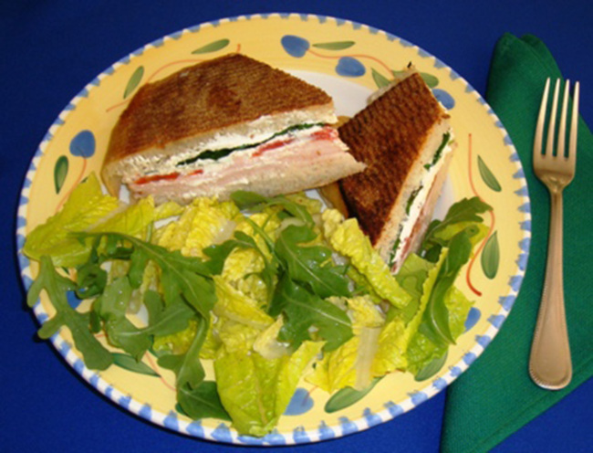 Smoked turkey and cheese panini, with Italian arugula salad (TNS)