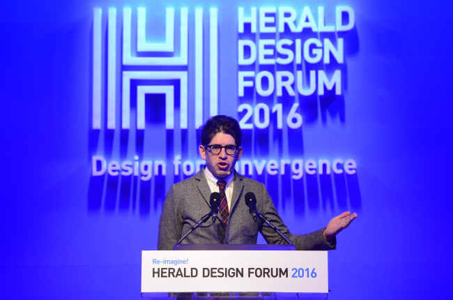 Yancey Strickler, CEO of Kickstarter, speaks at the Herald Design Forum 2016 held at the Grand Hyatt Seoul on Tuesday. (Park Hae-mook/The Korea Herald)