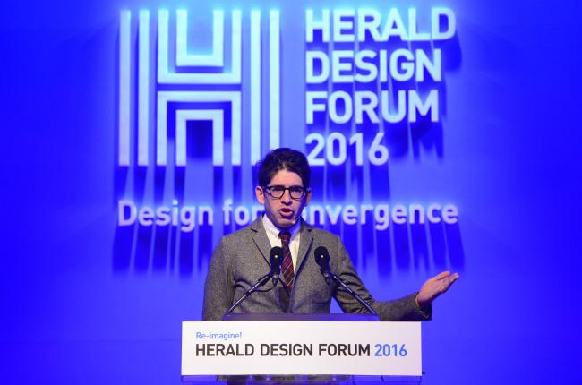 Yancey Strickler, co-founder of Kickstarter, speaks at the Herald Design Forum 2016 held at the Grand Hyatt Seoul in Seoul, Tuesday. (Park Hae-mook/The Korea Herald)
