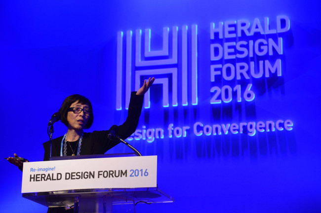 Architect Kazuyo Sejima, co-founder of SANAA, speaks at the Herald Design Forum 2016 held at the Grand Hyatt Seoul on Tuesday. (Park Hae-mook/The Korea Herald)