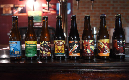 "This file photo taken on Oct. 23, 2015 shows various beers produced by Belgian micro-brewery ""Brasserie de la Senne"" on display at the brewery in Brussels. (AFP-Yonhap)"
