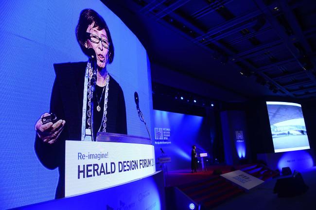 Pritzker Award-winning architect Kazuyo Sejima speaks during the Herald Design Forum 2016 held at the Grand Hyatt Seoul on Tuesday. (Park Hae-mook/The Korea Herald)