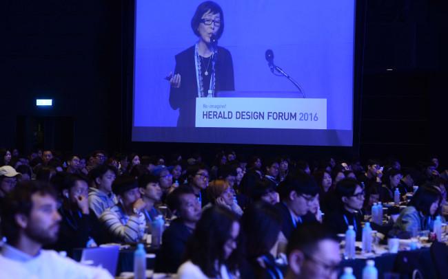 Architect Kazuyo Sejima speaksat the Herald Design Forum 2016 held at the Grand Hyatt Seoul on Tuesday. (Park Hae-mook/The Korea Herald)
