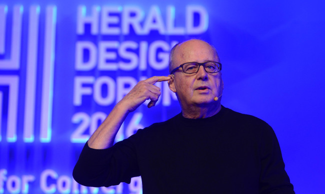Alberto Alessi at the Herald Design Forum 2016, held at the Grand Hyatt Seoul on Tuesday. (Park Hae-mook/The Korea Herald)