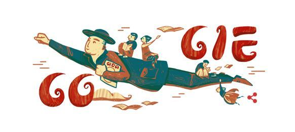 Google introduces a special logo to commemorate Nov. 9, the 117th birthday of the late Bang Jung-hwan, a pioneer of literature and rights for children. He led the establishment of the Children's Day holiday in Korea. (Google Korea)