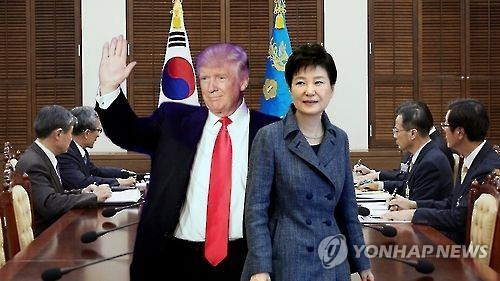 Graphicimage shows South Korean President Park Geun-hye (right) and US President-elect Donald Trump. (Yonhap)