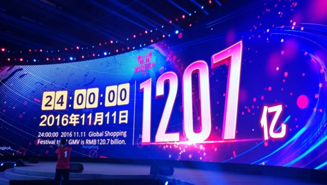 A sign shows the total gross merchandise volume for the Singles' Day Global Shopping Festival on Chinese e-commerce giant Alibaba. (Alibaba)