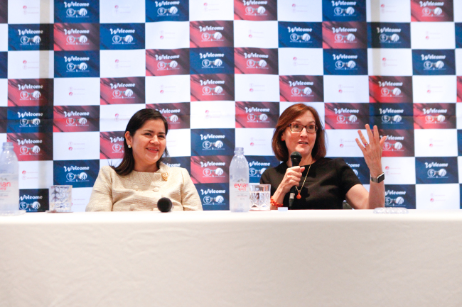 Asia Cultural Council Chairman Wendy O'Neill (right) with ACC Executive Director Miho Walsh, at a press briefing at Namsan Art Center in Seoul on Monday. (Seoul Institute of the Arts)