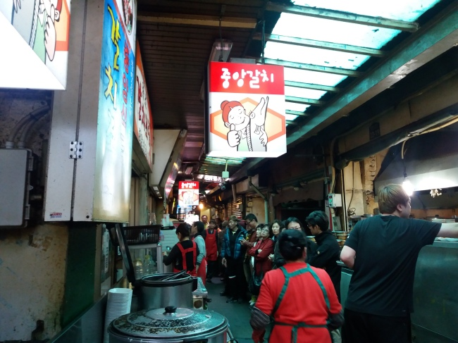 Jungang Galchi Shikdang's never-ending lunch line (photo cred: Christine Cho)