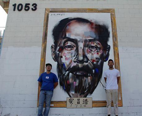 Dosan portrait at 1053 Vermont Blvd., Los Angeles, CAMatt Kim (left) and portrait artist Joseph Lee (right).