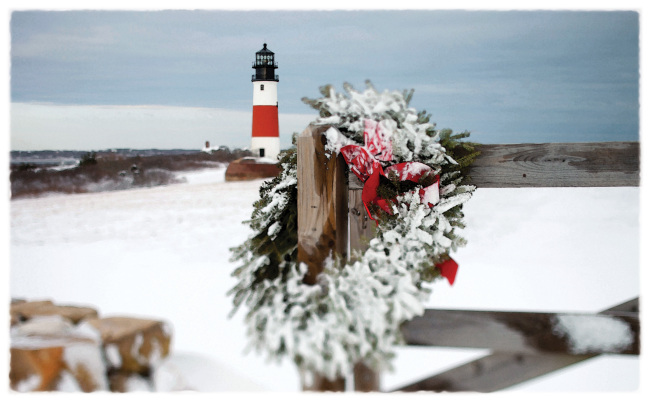 Sankaty Head Lighthouse during the holidays