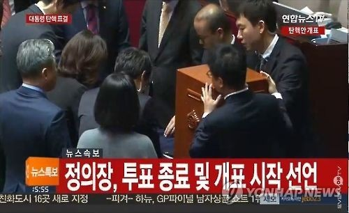Vote count begins for the 299 ballots cast. Rep. Choi Kyung-hwan withdrew from voting. (YTN News Capture)