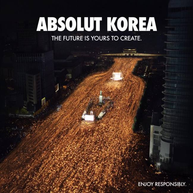 Absolut Korea's ad image posted to Facebook (Absolut Korea official Facebook)