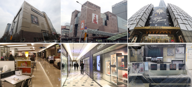 (From left) Hyundai Department Store, Shinsegae and Lotte, the three companies awarded new duty-free licenses in Seoul. (Yonhap)