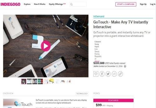 Screen capture of the GoTouch Indiegogo campaign