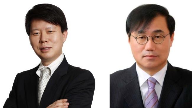 Newly named Shinsegae DF CEO Son Yung-sik (left), Shinsegae International CEO Cha Jeong-ho (Shinsegae)