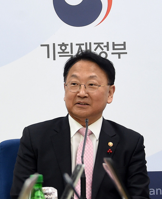 Finance Minister Yoo Il-ho speaks during a press conference in Sejong, Thursday. (Ministry of Strategy and Finance)