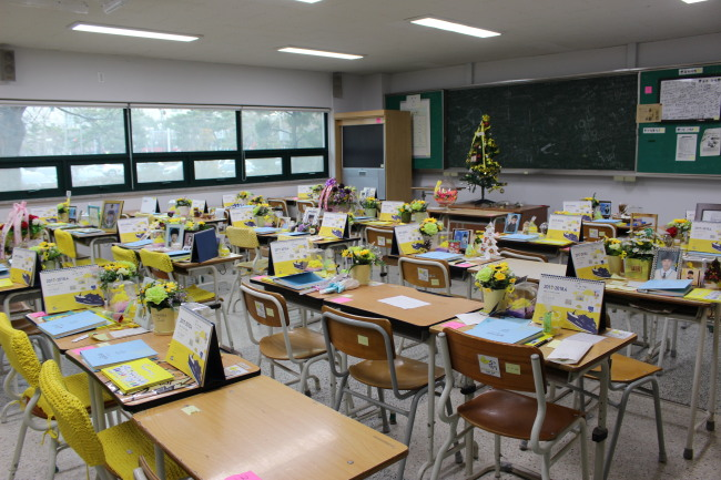 Danwon High school's Classroom 4 of second grade at Ansan Office of Education in Ansan, Gyeonggi Province on Dec. 30. (Jo He-rim/The Korea Herald)