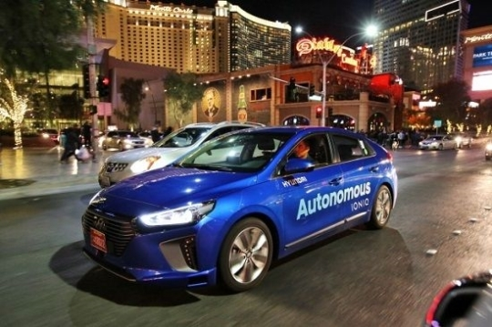 Hyundai Motor's Ionic Electric autonomous car has successfully completed night time test drives around the Las Vegas Convention Center during the Consumer Electronics Show. (Hyundai Motor)