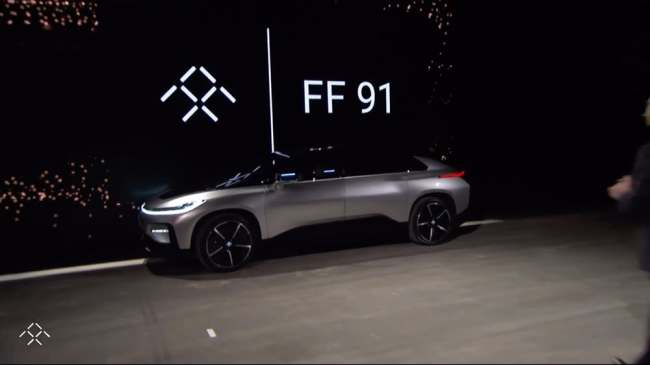 Faraday Future, a Chinese-backed startup that focus on electric car development, unveiled the world's fastest self-driving electric car lineup, dubbed the FF91. (Faraday Future)