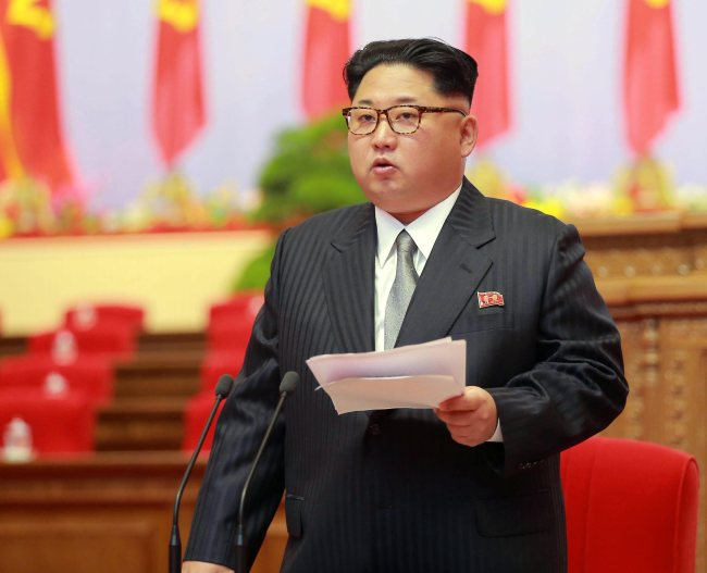 Kim Jong-un delivers a speech during the 7th Congress of the Workers` Party of Korea in Pyongyang (Yonhap)