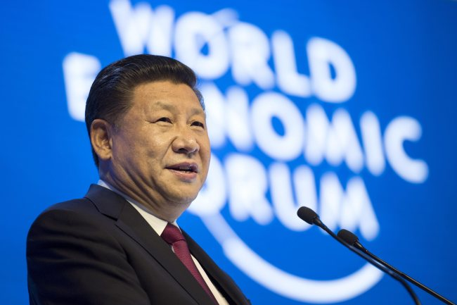 China's President Xi Jinping speaks in the Congress Hall on day one of the 47th Annual Meeting of the World Economic Forum in Davos, Switzerland, Tuesday. EPA-Yonhap