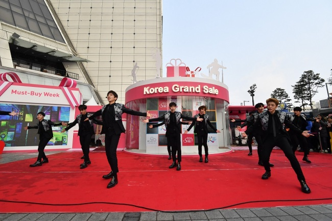 Boy band Boys 24 performs at Friday's opening ceremony for the Korea Grand Sale 2017 in Seoul. Visit Korea Committee