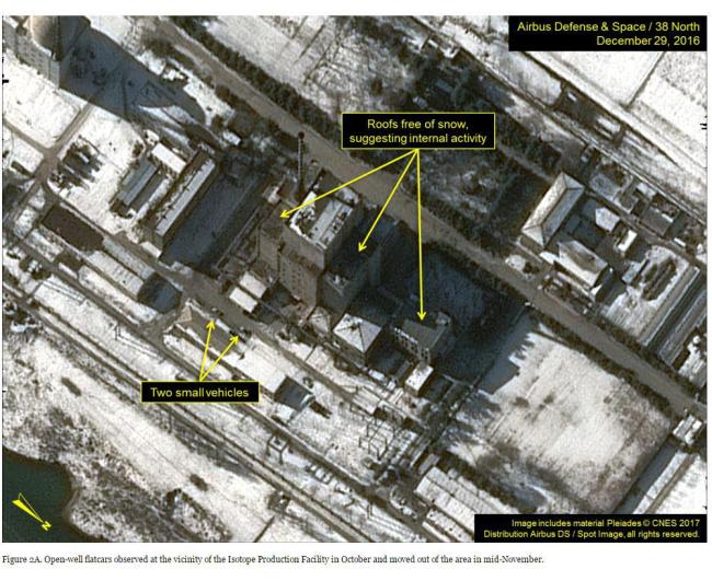 Satellite imagefrom the 38 North website showingNorth Korea's nuclear reactor facility(Yonhap)