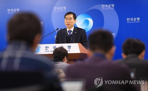 Chung Kyu-il, director general of the Economic Statistics Department at the Bank of Korea, speaks to reporters in Seoul on Feb. 3, 2017. (Yonhap)