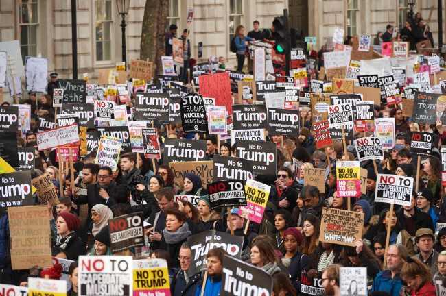 Anti-Trump protest in London, UK (Yonhap)