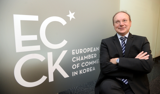 Jean-Christophe Darbes, European Chamber of Commerce in Korea chairman, speaks during an interview with The Korea Herald on Tuesday at ECCK headquarters in Seoul. (Park Hyun-koo/The Korea Herald)
