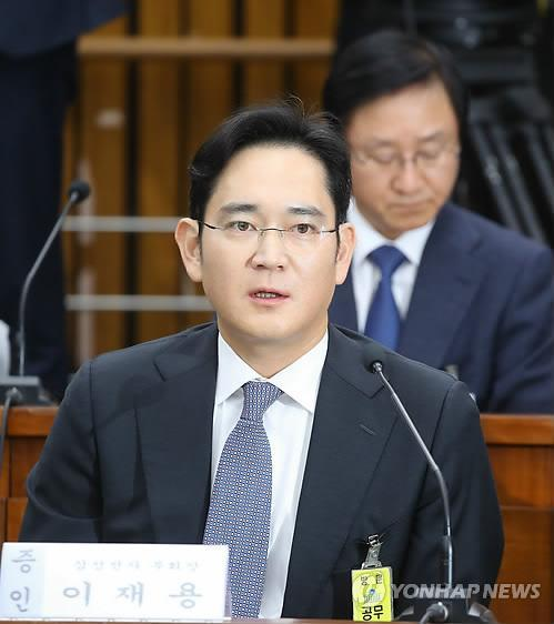 Lee Jae-yong at a parliamentary hearing (Yonhap)