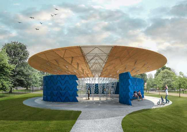 A handout computer-generated image released by the Serpentine Gallery on Tuesday shows the exterior design for the Serpentine Pavilion 2017 designed by Burkinabe architect Diebedo Francis Kere. (AFP-Yonhap)
