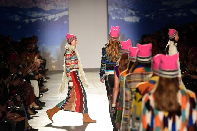 Models present creations for fashion house Missoni during the women's fall-winter 2017 fashion week in Milan, Saturday. (AFP-Yonhap)
