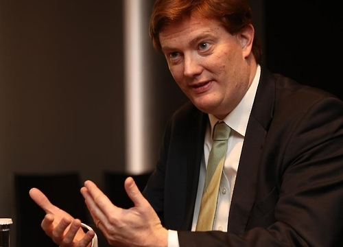 Danny Alexander, vice president of the Asia Infrastructure Investment Bank, speaks in an interview with Yonhap News Agency in Seoul on Feb. 27, 2017. (Yonhap)