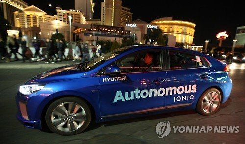 A Hyundai Motor vehicle test-runs autonomous driving in Las Vegas in January. (Yonhap)