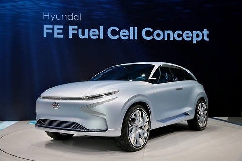 South Korea's leading automaker Hyundai Motor Co. unveils its new futuristic concept car, the FE Fuel Cell Concept, at the 87th Geneva International Motor Show in Geneva, Switzerland, on March 7, 2017. (Hyundai Motor)