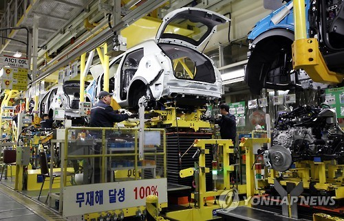 An assembly line at a production facility of Ssangyong Motor Co. in Pyeongtaek, South Korea (Ssangyong Motor)
