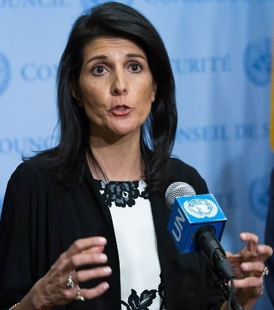 US Amb. Nikki Haley speaks to reporters at the United Nations on March 8. (AFP-Yonhap)
