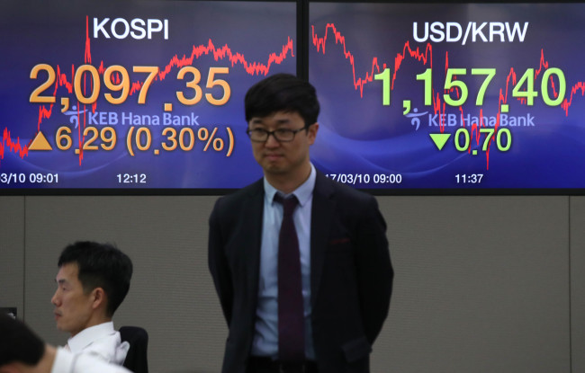 A dealer in Seoul with a monitor behind showing the closing of Kospi on Friday. (Yonhap)